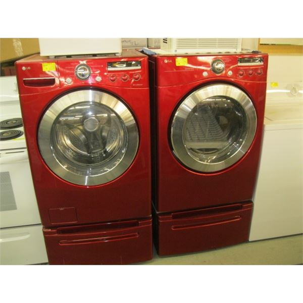 PAIR OF LG WASHERS & DRYER WITH LOWER DRAWER PEDESTALS