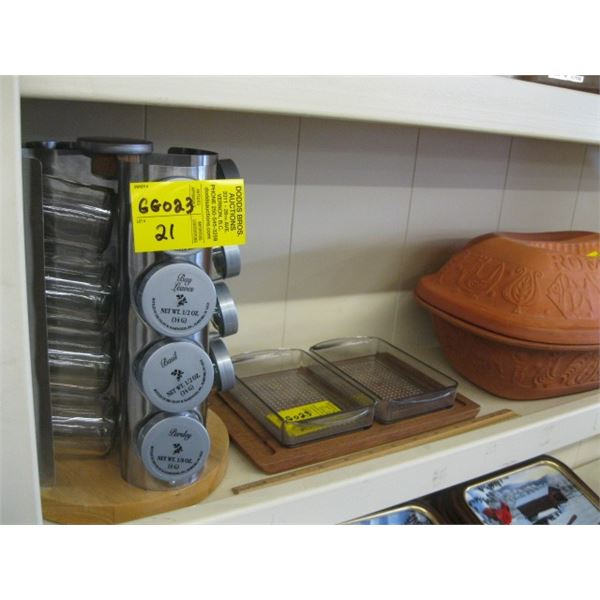 SPICE RACK, A SERVING DISH & A POTTERY BAKING OVEN