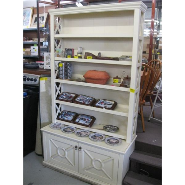 TALL SHELVING UNIT WITH LOWER 2 DOOR CABINET