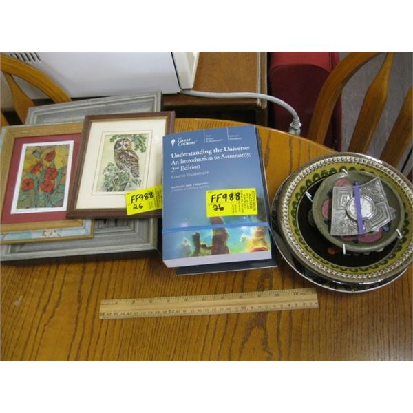 UNDERSTANDING THE UNIVERSE BOOKS & 3 SMALL FRAMED PRINTS & LOT OF DECORATIVE POTTERY PLATES & SMALL