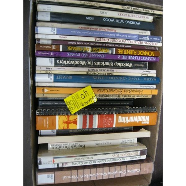 BOX OF ASST. HARDCOVERED BOOKS, WOODWORKING, ETC.