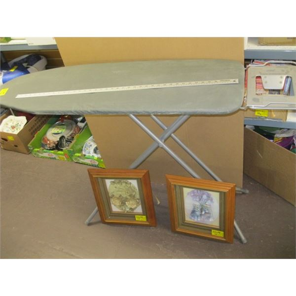 PAIR OF 3D BOXED PICTURES & AN IRONING BOARD