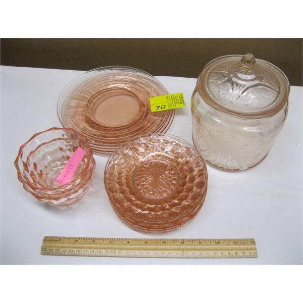 BOX OF ASST. PINK DEPRESSION GLASS PLATES & BOWLS