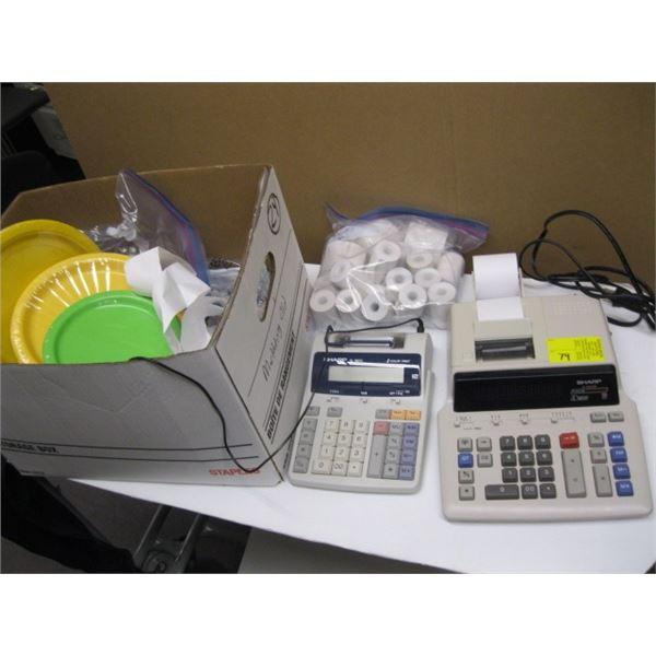 2 SHARP ADDING MACHINES, LOT OF PAPER PLATES, DYNAMO LABEL MAKER, ETC.