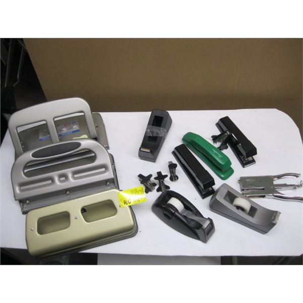 BOX OF STAPLERS, 3 HOLE PUNCHES, ETC.