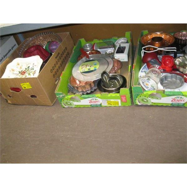 3 BOXES OF MISC. CAKE PANS, PLATTERS, BOWLS, ETC.
