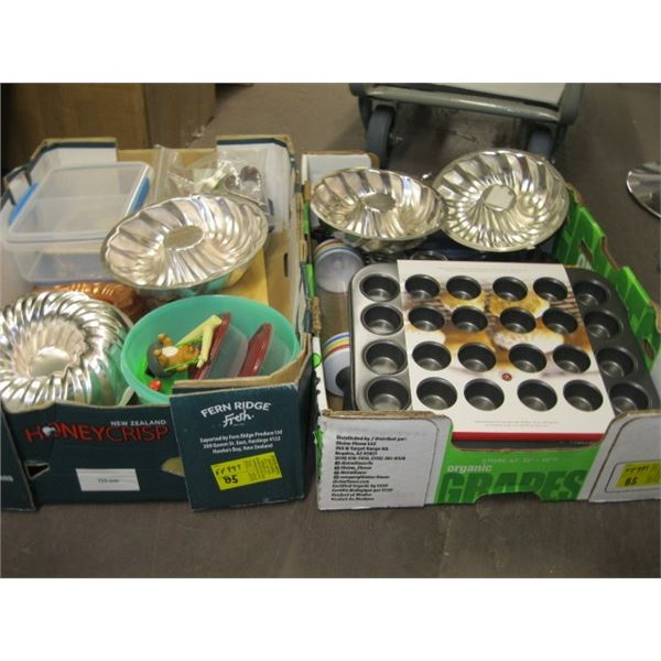 2 BOXES OF MISC. JELLY MOLDS, WAFFLE IRON SET, MUFFIN TINS, ETC.
