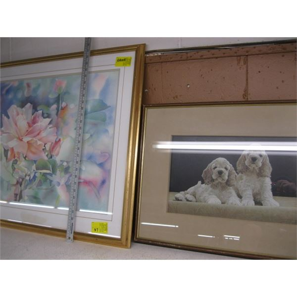 GERRY THOMPSON WATER COLOUR PRINT, THE FLOWERS & THE JOHN WISE NUMBERED SIGNED PRINT OF THE 2 DOGS