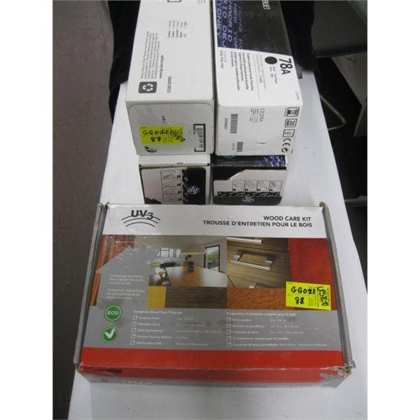 4 HP PRINTER CARTRIDGES & A WOODEN CARE KIT BOX