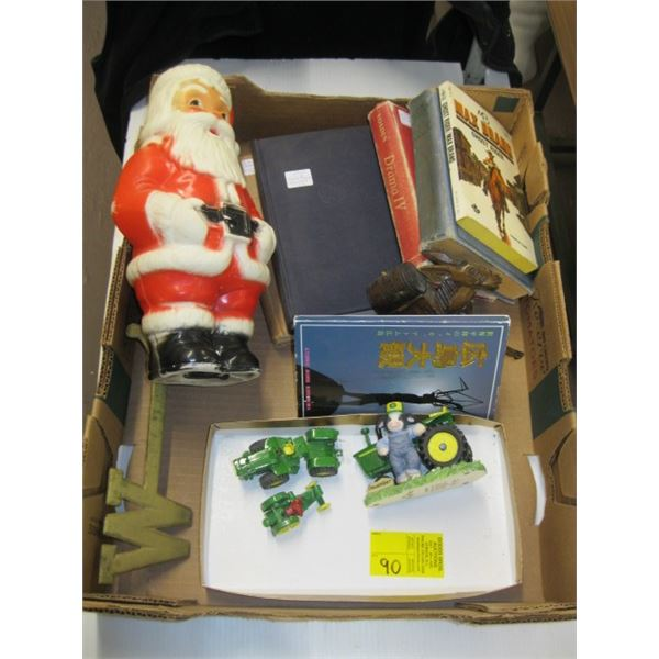 BOX OF MISC. COLLECTABLES, SANTA COIN BANK, BOOKS, HIROSHIMA POST CARDS, JOHN DEERE TOYS, ETC.