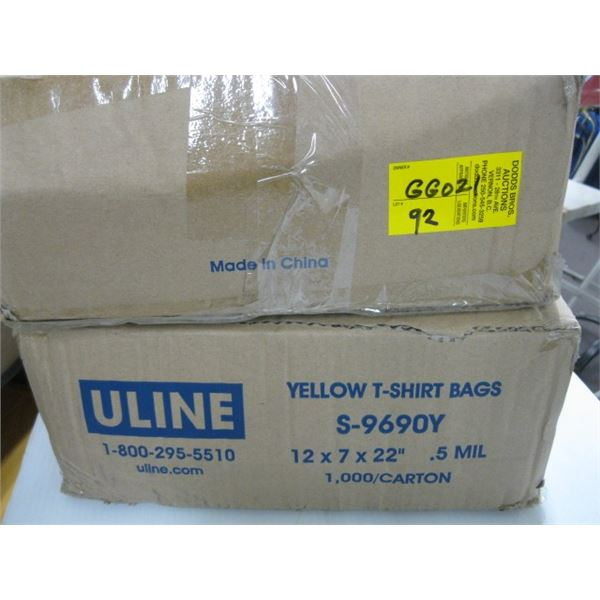 2 BOXES OF YELLOW TSHIRT BAGS