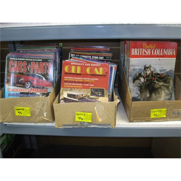 3 BOXES OF ASST. CAR & PARTS MAGAZINES & OLD CAR MAGAZINES & BEAUTIFUL B.C. MAGAZINES