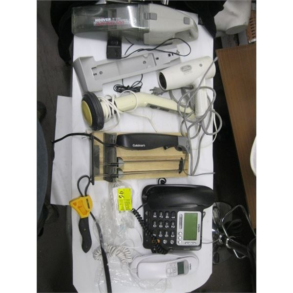BOX OF MISC. ELECTRIC KNIFE, BLOWDRYER, MASSAGER, ETC.