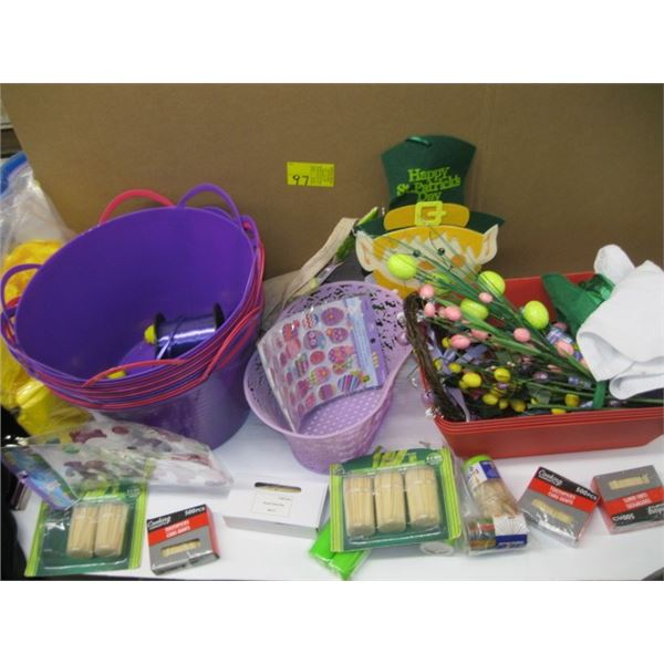 BOX OF MISC. ARTIFICIAL FLOWERS, BASKETS, TOOTHPICKS, BAGS, ETC.
