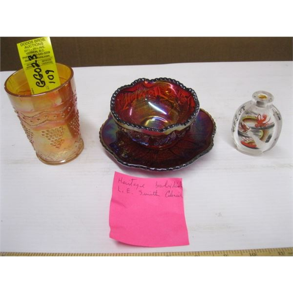 CARNIVAL GLASS BOWL & PLATE, CARNIVAL GLASS GLASS & A SMALL GLASS SNUFF BOTTLE, CHIPPED BASE