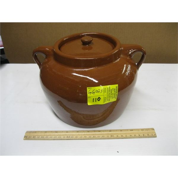 LG. POTTERY BEAN POT WITH LID