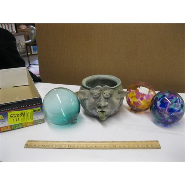3 GLASS FLOATS & A SMALL POTTERY BOWL WITH FACE