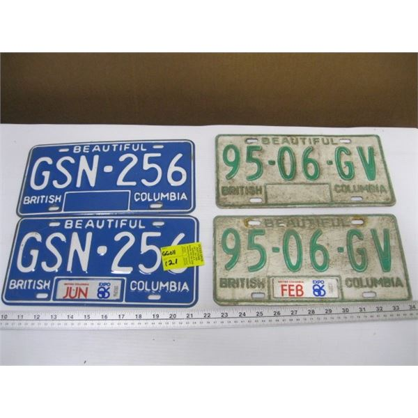 2 PAIR OF LICENCE PLATES FROM EXPO 86, TRUCK PLATE & CAR PLATE