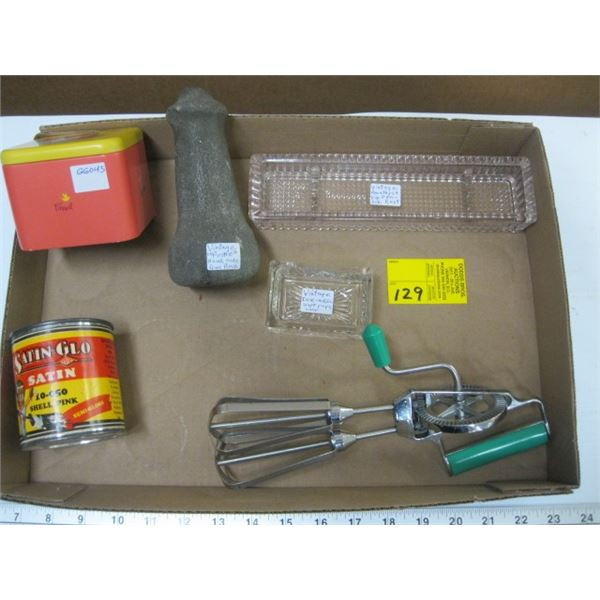 BOX OF MISC. PAINT, INKWELL, HAND MIXER, PESTLE, ETC.