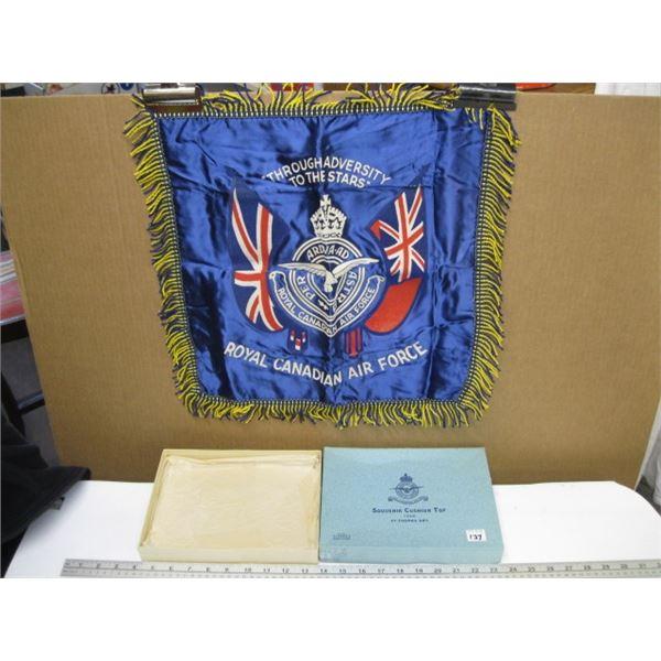 SOUVENIER CUSHION TOP ROYAL CANADIAN AIR FORCE FLAG