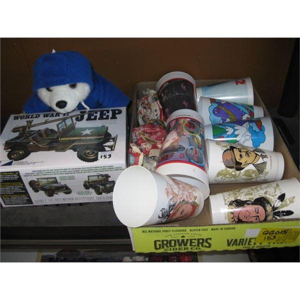 NEW JEEP MODEL, CHEVRON BEAR & BOX OF 7-11 CUPS