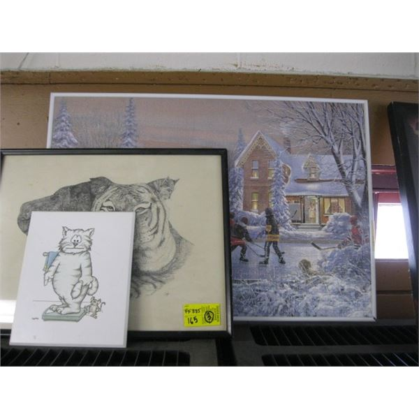 3 PICTURES, THE CAT, THE TIGER & THE FRAMED PUZZLE KIDS ON RINK