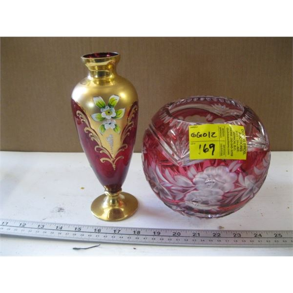 RUBY GLASS VASE WITH GOLD EMBOSS & CRYSTAL RUBY GLASS VASE
