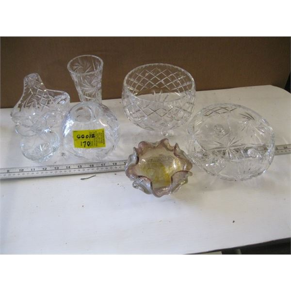 CRYSTAL BOWLS, SMALL PICTURE, ETC.