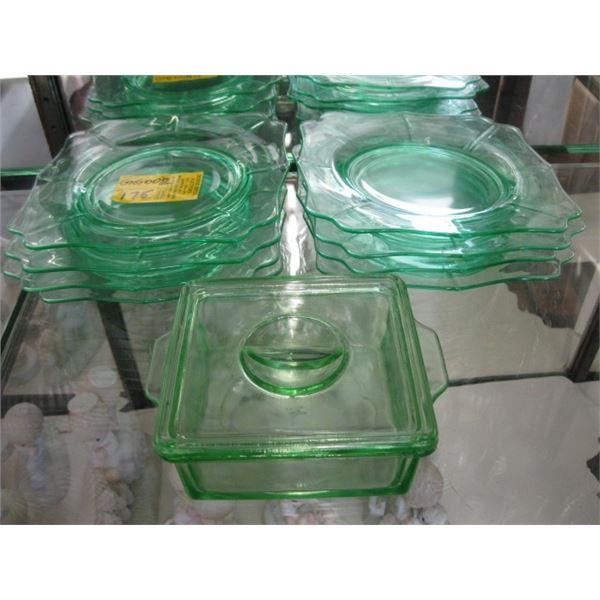 GREEN DEPRESSION GLASS PLATES & A LIDDED DISH
