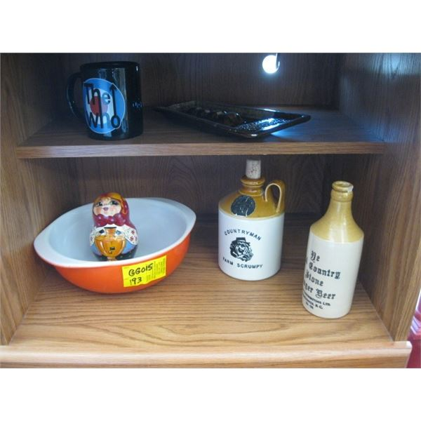 MISC. PYREX MIXING BOWL, ASHTRAY, GINGER BEER BOTTLE, CHIPPED, ETC.