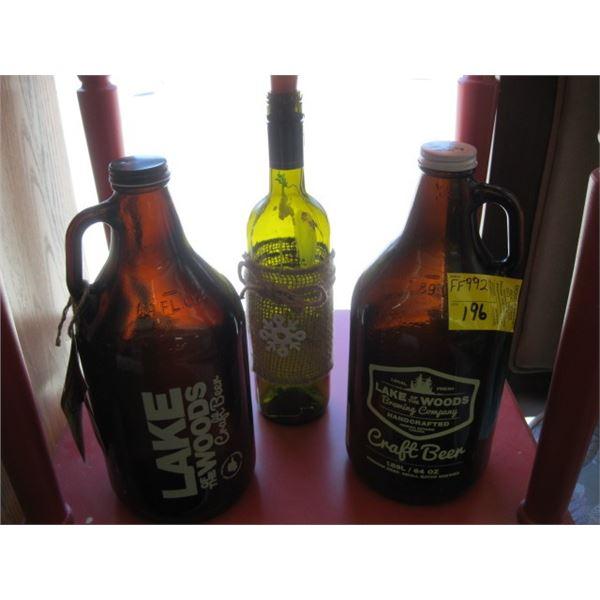 WINE BOTTLE & 2 CRAFT BEER JUGS