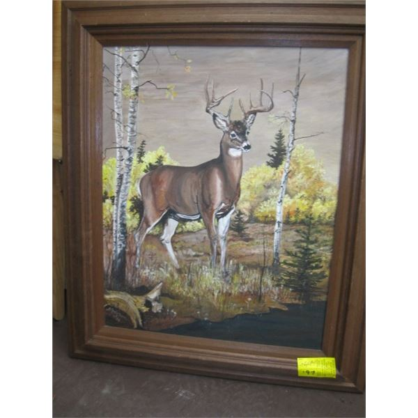 FRAMED ORIGINAL PAINTING BY ANDERSON OF THE WHITETAIL DEER