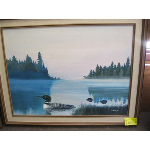 FRAMED ORIGINAL PAINTING OF THE LOON BY ANDERSON