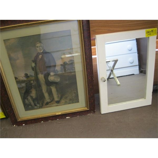 FRAMED ANTIQUE PRINT OF A MAN WITH HIS DOG & A MIRRORED DOOR