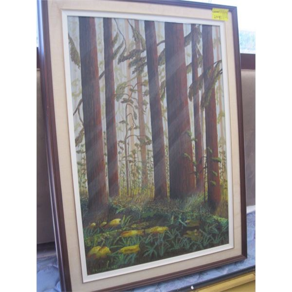 FRAMED ORIGINAL PAINTING BY A. CORPELLA, 1980, THE LARGE TREES