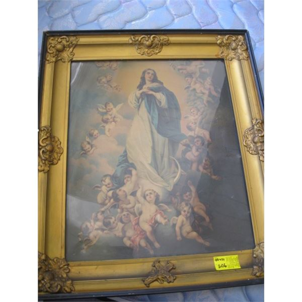 GILDED FRAMED PRINT OF THE ANGEL WITH BABIES