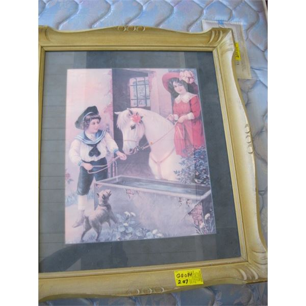 ANTIQUE FRAMED PRINT OF THE KIDS WITH HORSE