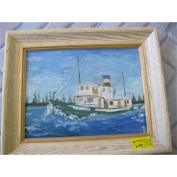 FRAMED ORIGINAL PAINTING OF THE TUGBOAT BY DON WADDELL