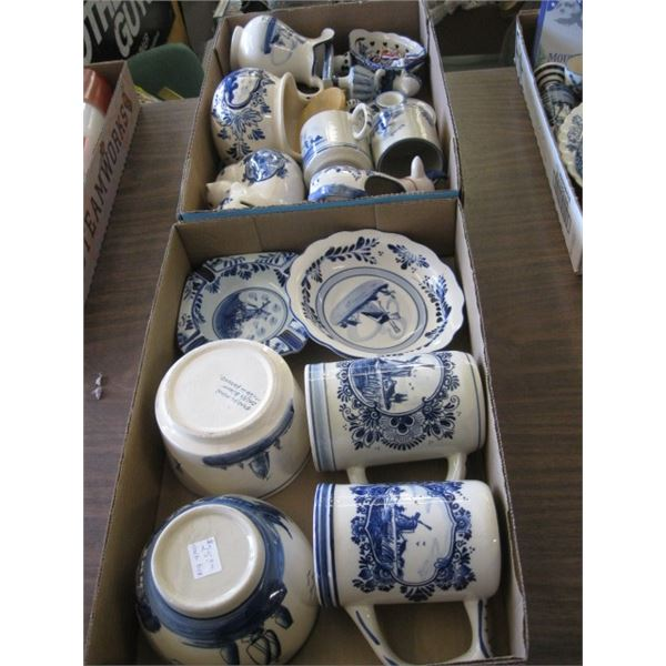 2 BOXES OF ASST. DELPH POTTERY DISHES