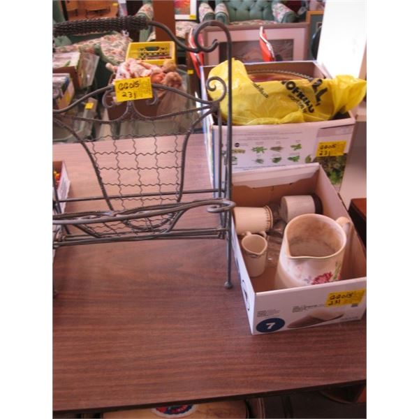 METAL MAGAZINE RACK, 2 GLASS PUNCH BOWLS & A BOX OF MISC. WATER & CREAM PITCHERS, ETC.