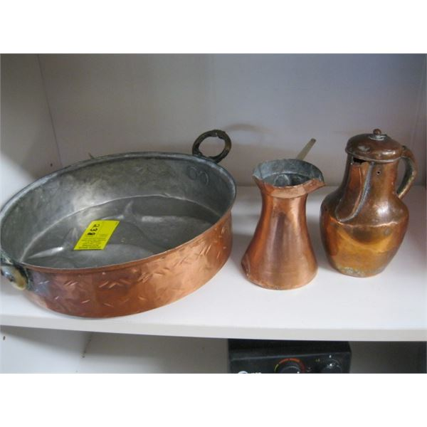 COPPER PAN WITH FISH & 2 COPPER DISPENSERS