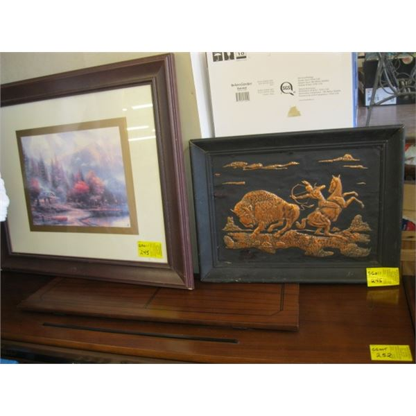 FRAMED PRINT OF A CABIN WITH MOUNTAIN & LAKE & A COPPERCRAFT PRINT OF THE BUFFALO & HUNTER