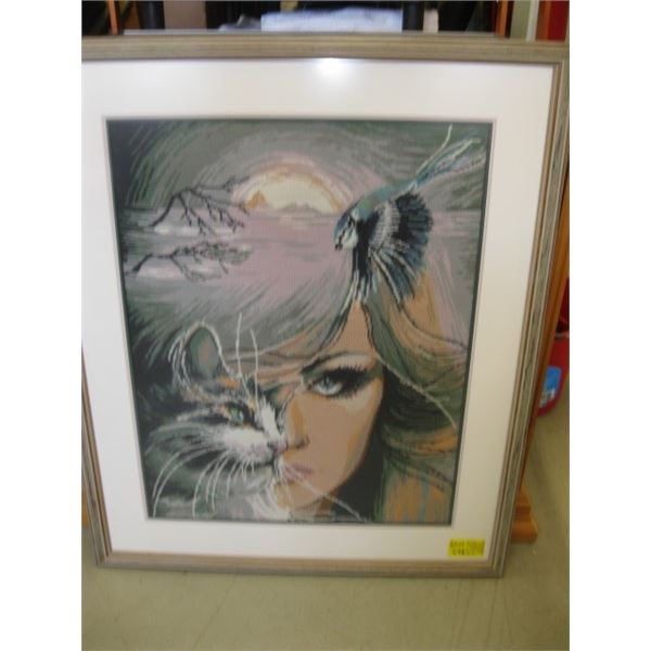 LG. FRAMED NEEDLEPOINT PRINT OF THE WOMAN'S FACE, THE CAT & THE EAGLE