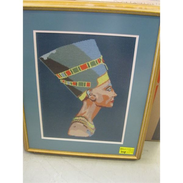 FRAMED NEEDLEPOINT PRINT OF THE EGYPTIAN LADY