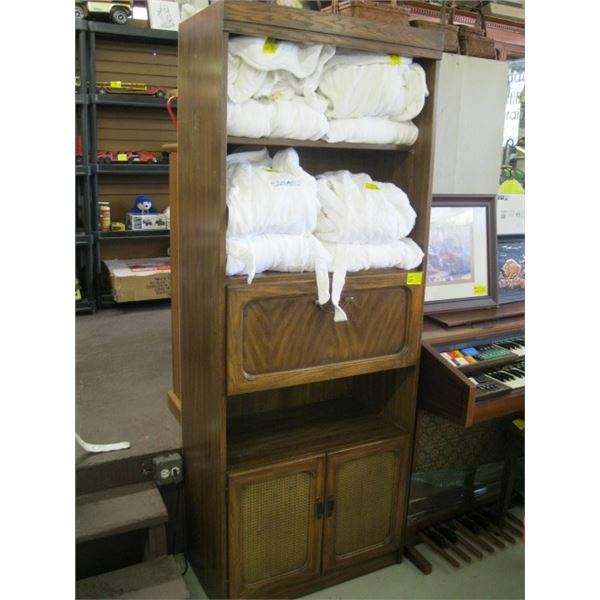 DROP FRONT SHELF UNIT WITH LOWER CABINET