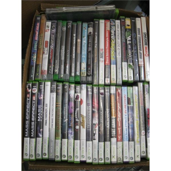 BOX OF XBOX 360 GAMES & DVDs
