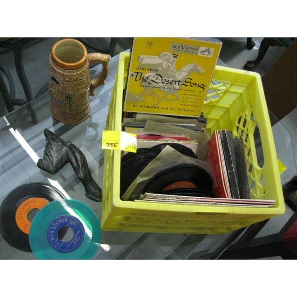 BOX WITH ASST. 45RPM RECORDS, SOAPSTONE CARVING & A CERAMIC MUG