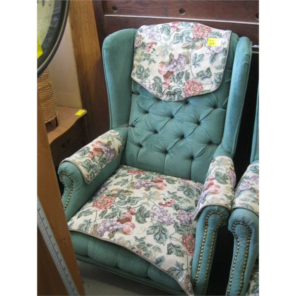 GREEN WITH FLORAL COVERED WINGBACK CHAIR