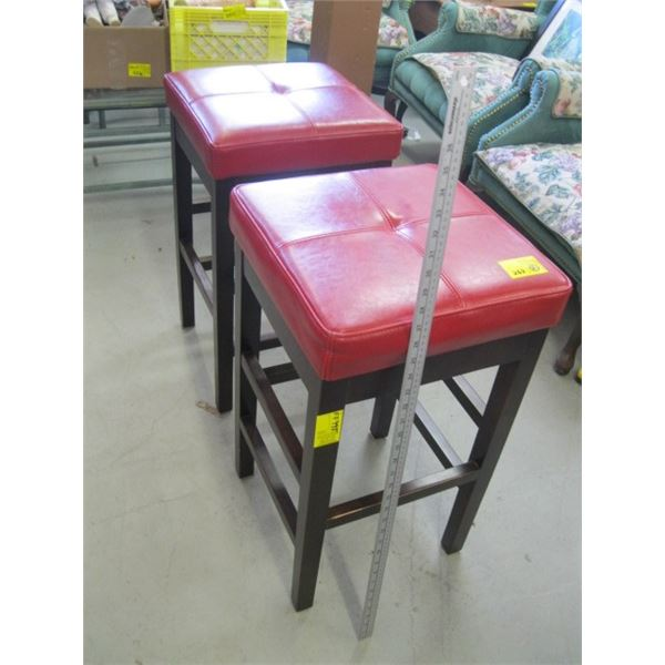 RED TOPPED PAIR OF STOOLS