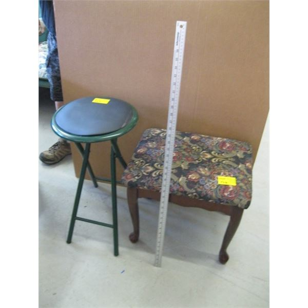 FOLDING STOOL & A WOODEN FLORAL TOPPED STOOL